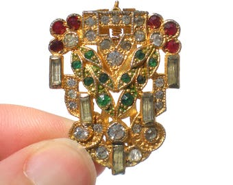 Rhinestone Dress Clip Christmas Colors Red Green and Clear - Vintage Jewelry