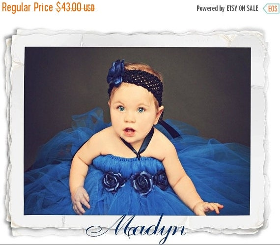 ON SALE Royal Blue Tutu Dress-  With Free matching Headband- Baby Tutu- Infant Tutu- Photo Prop- Tutu Dress- Available In Size 0- 24 Months.