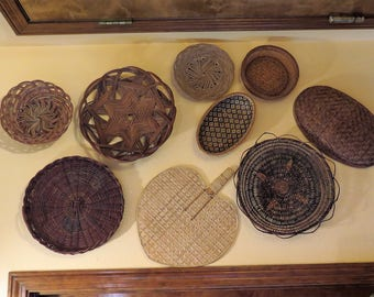 9 Basket Wall Collage Vintage woven Baskets wicker Fan Dark Brown Straw Rattan