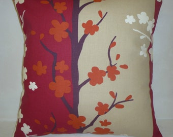 """PAIR Cushion Covers Pinky Raspberry Red Burnt Orange Retro Taupe Floral Pillows Throw Accent Decorative Scatter Covers 16"""" (40cm)"""