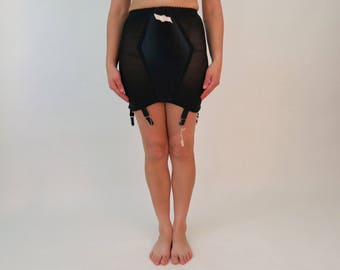 DEADSTOCK 1960s Bilt Rite Open Bottom Girdle / Vintage Black Girdle w Garter Clips