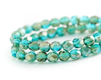 Aqua Celsian Luster Faceted Round Spacer Beads, Blue Green Transparent Fire Polished Czech Glass, 6mm x 25pc (0012)