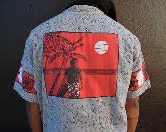 Vintage Hawaiian Surf Shirt, 80s Button Up Surfer Shirt, Men's Short Sleeve Tropical Hawaii Top, Gray with Black Splatter Paint, Mens XL