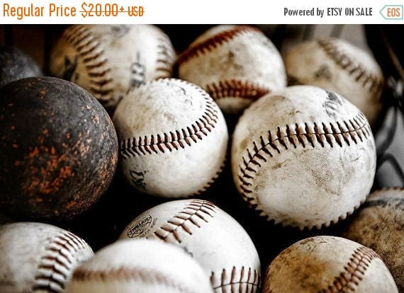 FLASH SALE til MIDNIGHT Vintage Baseballs No. One, Photo Print ,Decorating Ideas, Wall Decor, Wall Art,  Kids Room, Nursery Ideas, Gift Idea