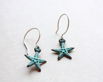 Turquoise Starfish Earrings, Patina Starfish Earrings, Nautical Earrings, Beach, Summer, Sterling Silver, Ready to Ship