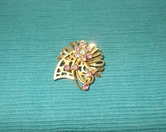 Vintage 1950's or 1960's Brass with Pink Rhinestone Pin or Brooch or Pendant-Intricate Design-SWEET-FREE SHIPPING!