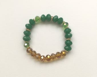 Green and Gold Stretch Bracelet