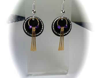 dangle drop earrings, gift ideas, accessories, jewelry, purple , hand made , gold and silver, glass beads jewelry, totem dragonfly