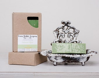 Olive Oil Soap, Oatmeal, made with organic oils and essential oils, FREE SHIPPING, by greenbubblegorgeous