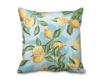 Lemon Throw Pillow Cover, Pillow Cover With Lemons On, Lemon Print Cushion Cover, Summer House Cushion Cover, Citrus Fruit Pillow Cover