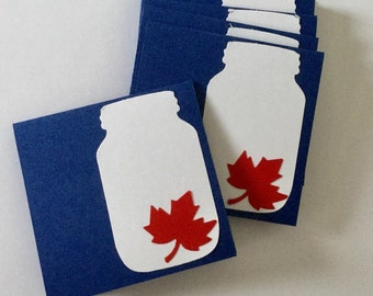 Canadian Mini Cards, 150th Anniversary, Set of Small Cards with Maple Leaf, Canadiana