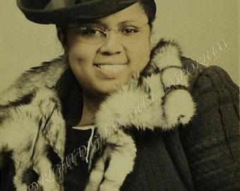 Fancy Lady Big Dimple Smile Instant Download Vintage Photograph