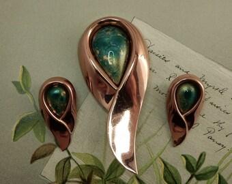 MATISSE RENOIR Copper & Turquoise Enamel Mid Century Brooch and Earrings Set    OG21