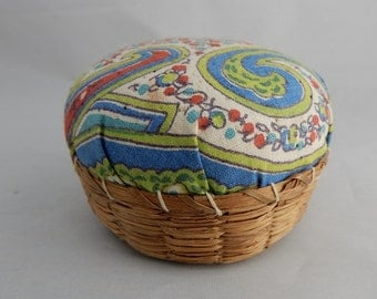 Antique SweetGrass & FeedSack Mini Pincushion Basket  Sweet Grass