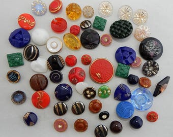 Mixed Lot of 60 All Glass Vintage Czech Buttons for Crafts