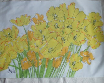 Vintage Vera Newman Pillowcase. Yellow Poppies. No Iron Percale. Vera Collection By Burlington. Made in the USA.