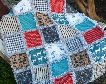 Baby Boy Rag Quilt Baby Crib Quilt Baby Boy Quilt North Woods Deer Forest Woodland Tribal Arrows Teal Blue Brown Ready to Ship