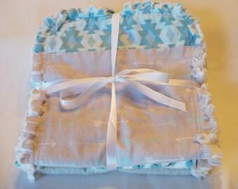 Rag Quilt Burp Cloths Baby Boy Burp Towel Set of 3 Modern Tribal Woodland Indian Arrow Gray Turquoise Ivory Cotton Chenille