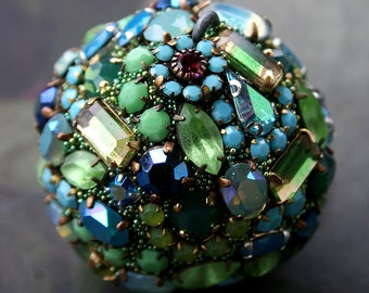 Vintage Crystals Rhinestones Ball Orb Sphere Encrusted Jewelry Ornament - Original Art Decor Blues and Greens All Occasion Gift - Lagoon