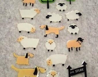 Mixed Cute PVC Happy Sheep Dog Stickers