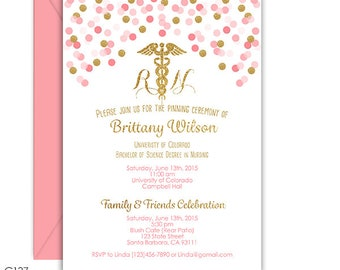 Nursing Graduation Invitation, RN or LVN, Pink and Gold confetti, Digital file or Printed,  purple, blue, navy and other colors available