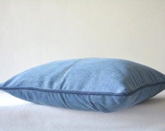 Oh So Comfortable Regular Blue Denim Pillow Cover , Jeans Pillow Cover , Regular Denim Blue Cushion Cover with Stitch Detail , Denim Decor