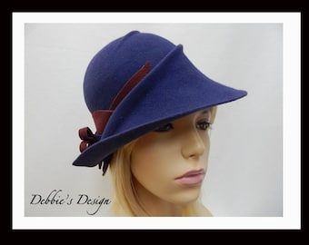 Women's Fur Felted Cloche Hat-524 One of a Kind, Women's Cloche Hat, Cloche Hats, Fur Felt Cloche Hat, cloche felted hat, Downton abbey