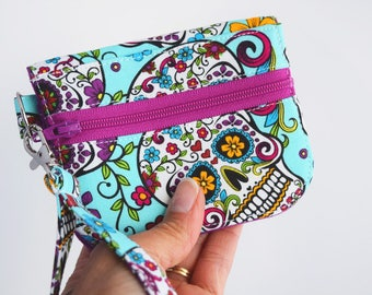 Sugar Skull Wallet - ID Card Wallet - College Student Gift for Her - Mini Wallet - Coin Purse - Handmade Wallet  by Zookaboo - Ready to Ship