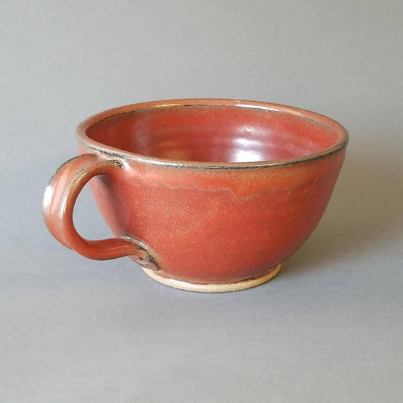 Deep Sided Soup Chili Chowder Bowl Handle Large Size Earthy Brick Red