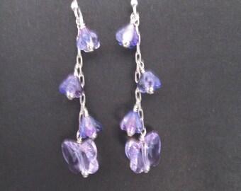 Purple flowers and swarovski butterfly earrings- sterling silver dangles