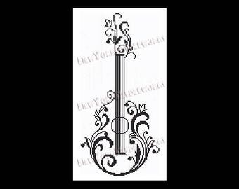 Guitar Silhouette Pattern, Guitar Cross Stitch, Cross Stitch, Guitar Pattern, Guitars, Silhouette Cross Stitch by NewYorkNeedleworks on Etsy