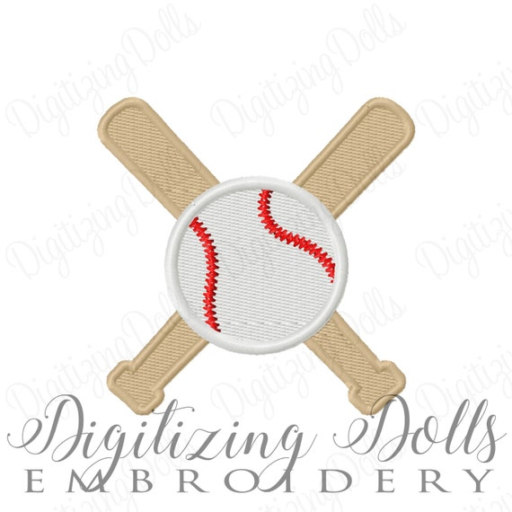 Baseball and Bats Solid Fill Machine Embroidery Design 2x2 3x3 4x4 Sports Softball INSTANT DOWNLOAD
