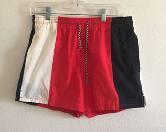90's Men's Vintage Swim Trunks - Size Medium - Jordan Colorway - Red, Black, White