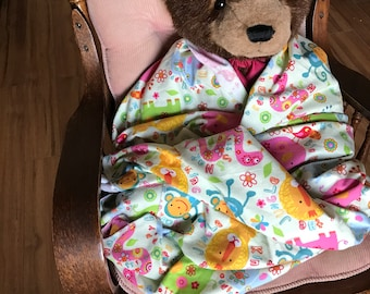 Baby Toddler Receiving Blanket Cotton Flannel Soft Green Bright Zoo Animals