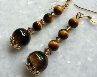 Luminous Tiger Eye Gemstone Earrings With Swarovski Crystals And Gold // Iridescent Brown And Gold Earrings // Gift For Mom // Gift For Her