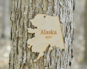 Natural Wood Alaska State Ornament WITH 2017