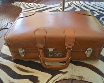 Vintage Leather Suitcase / Brown Leather Suitcase / Vintage Travel Luggage / Retro Travel Valise