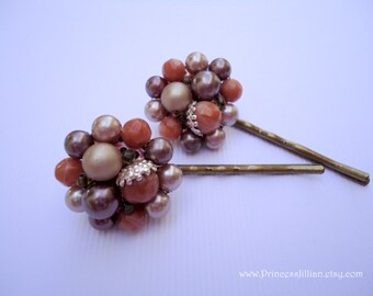 Vintage earrings hair pins - Autumn Fall orange brown tone antique bronze beaded pearls cluster embellish decorative fancy hair accessories