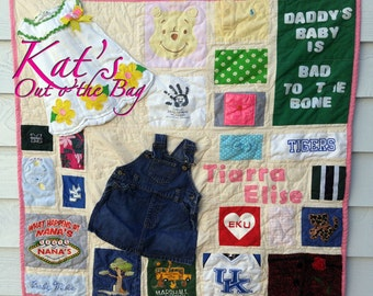 Memory Quilt | Wall Hanging Memory Quilt | Baby Clothes Quilt | Memory Blanket | First Year Quilt - made from your baby girl's clothes