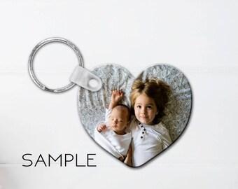 Heart Photo Key Chain, Custom Keychain, Personalized Keychain, Double Sided Heart Keychain, Gifts for Her, Plastic key chain