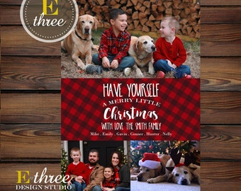 Plaid Photo Christmas Cards - Three Photo Holiday Card - Rustic Christmas Cards - Have Yourself a Merry Little Christmas Card