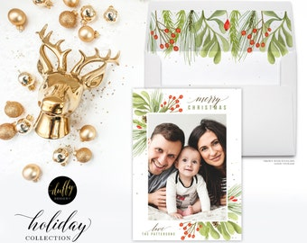 Christmas Photo Card, Holiday Photo Card, Photo Christmas Card, Rustic Holiday Card, Christmas Card 5x7 Holiday Card- WHITE - ONE SIDED