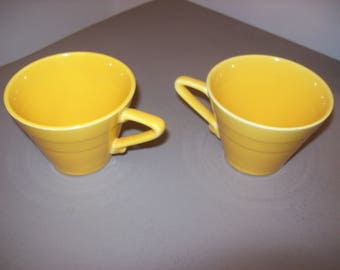 Vintage Tea Cups Fiestaware  Harlequin Tea Cups Lot of 2 Pottery Yellow Triangle Handles