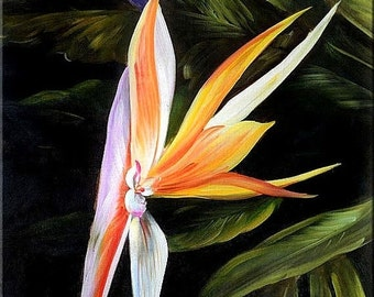 70%Off & Free Shipping ORIGINAL Oil Painting Exotic 23 x 36 Flowers Realism Orange Purple Green Tropical Big  ART By MARCHELLA
