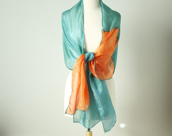 soft teal and orange hand dyed silk habotai scarf or wrap with turquoise edging