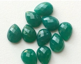 50% ON SALE WHOLESALE 40 Pcs Green Onyx Cabochons, Faceted Pear Cabochons, Rose Cut Green Onyx, Green Onyx Pear Beads, Calibrated 12x8mm Eac