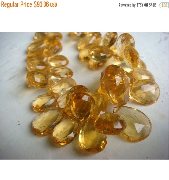 55% ON SALE Citrine - Citrine Pear Shaped Faceted Briolettes, 12x10mm - Half Strand 4 Inches - 24 Pieces