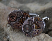 Beautiful Pair of 17 Jewels Steampunk Longines Watch Movement Cuff links CL 61