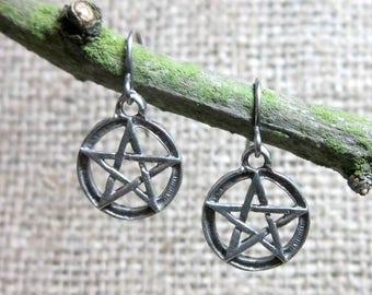 CLEARANCE Pentacle stainless steel earrings - Pagan Wiccan pentagram hook dangles