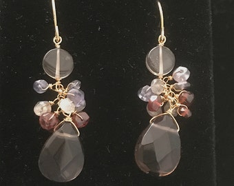Danglers- Pierced Cluster Earrings Hand wire wrapped semi precious stones with brown quartz